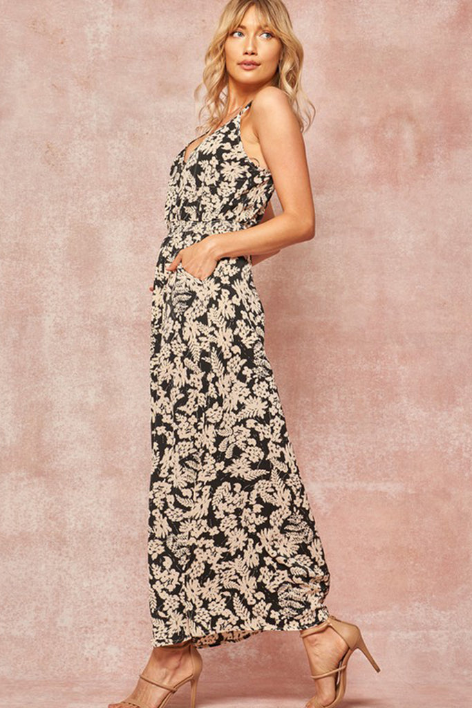 Black/White Floral Maxi Dress