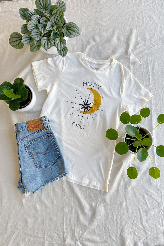 Cream Moon Child Graphic Top