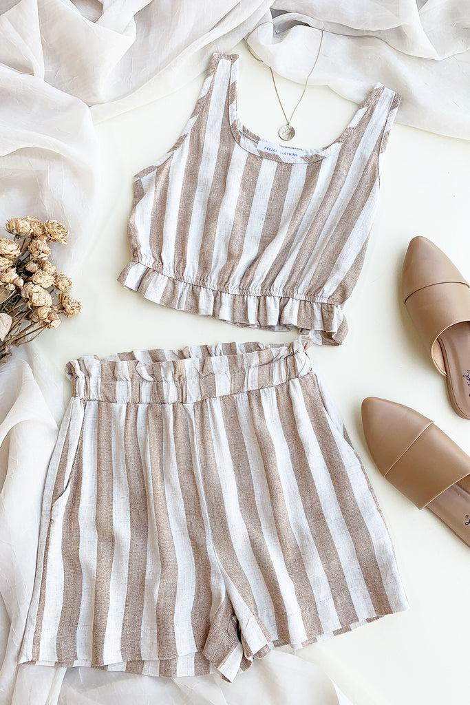 Natural/Cream Striped Shorts