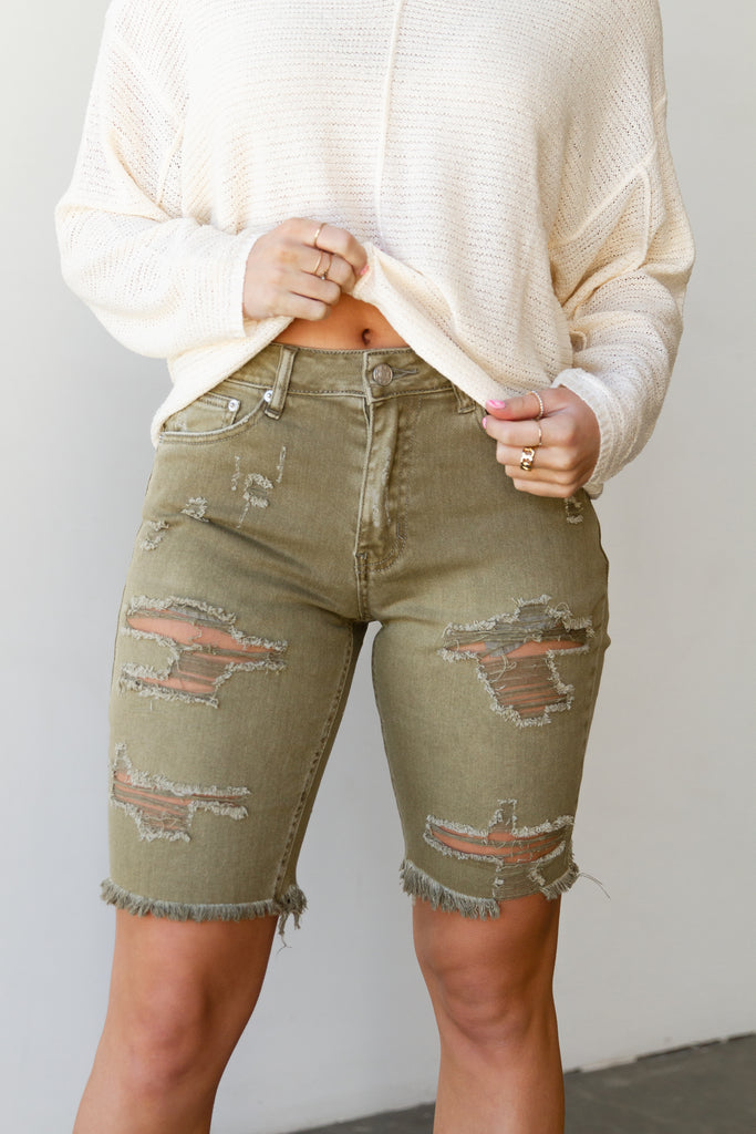 olive denim mid thigh shorts