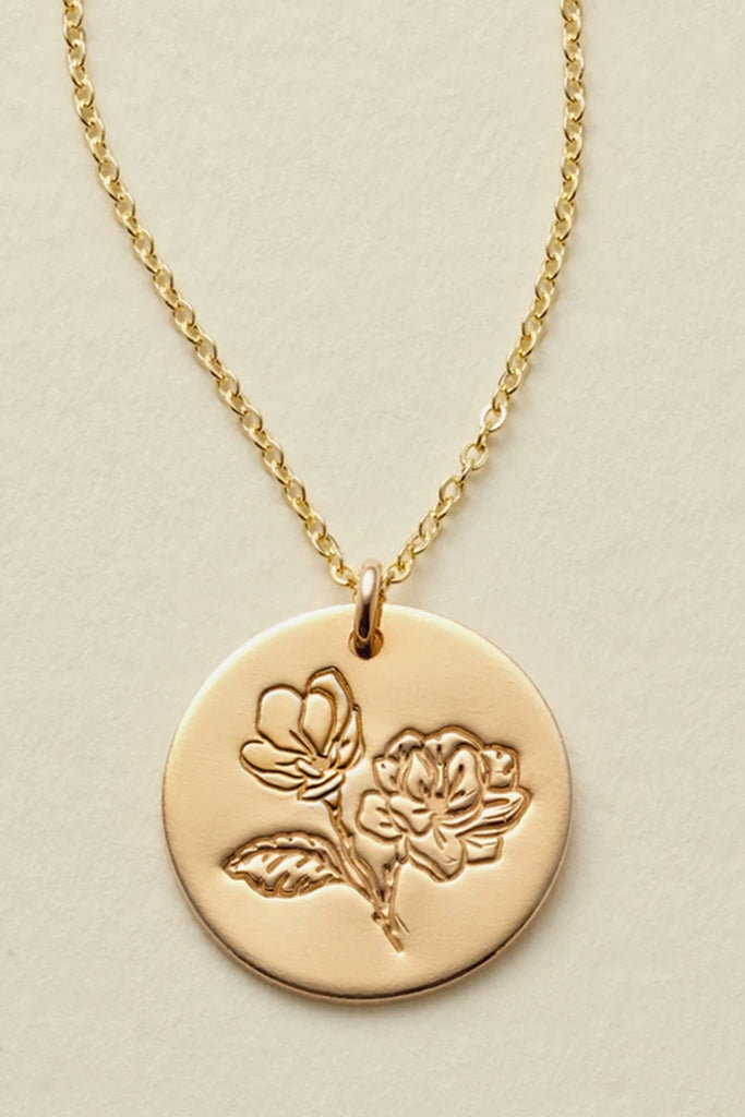 Magnolia Flower Disc Necklace by Made by Mary
