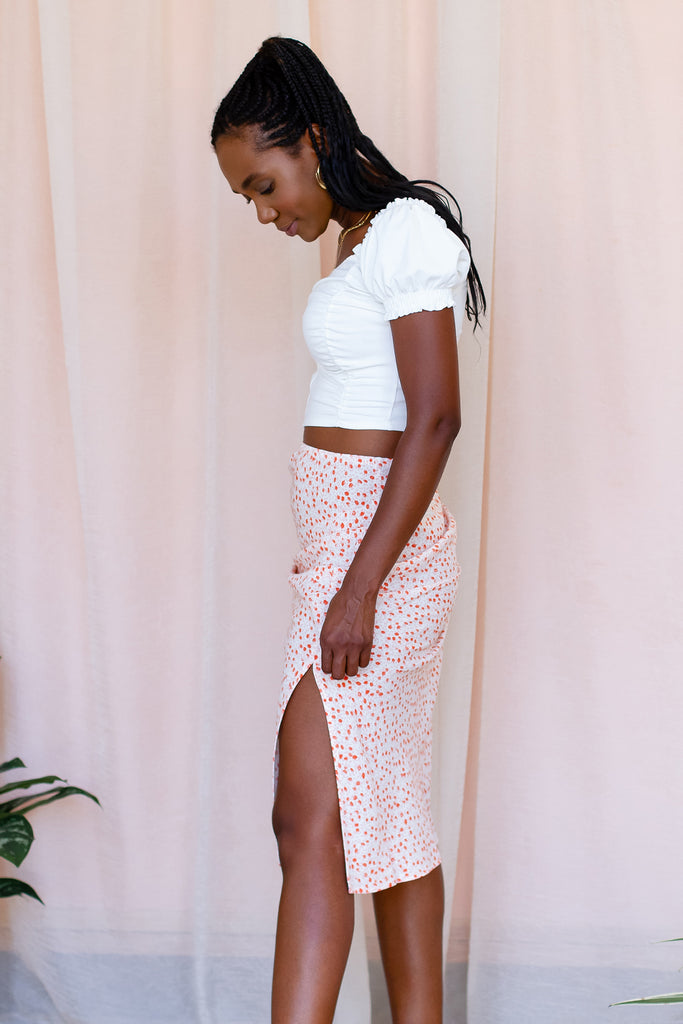 Coral Floral Midi Skirt