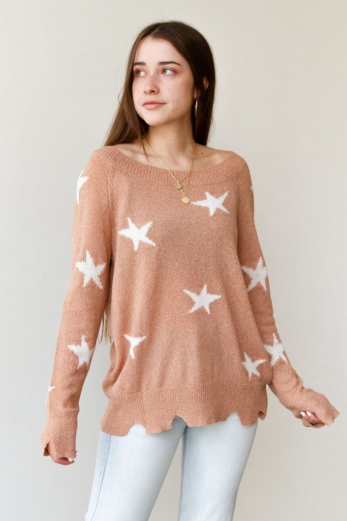 Rock On Star Printed Sweater