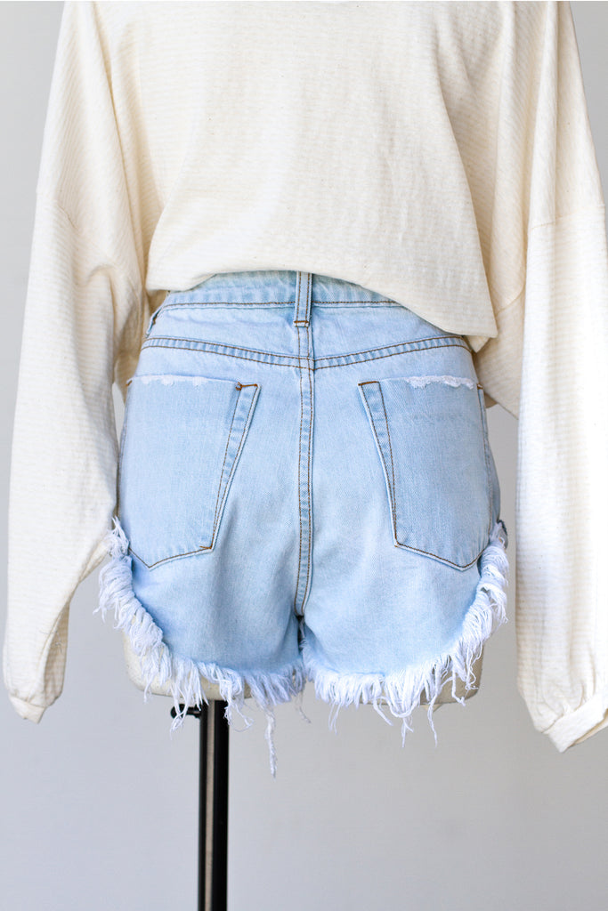 Lala Light Wash Denim Shorts