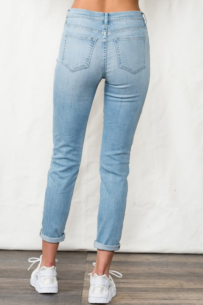 Keep It Close Distressed Denim Jeans