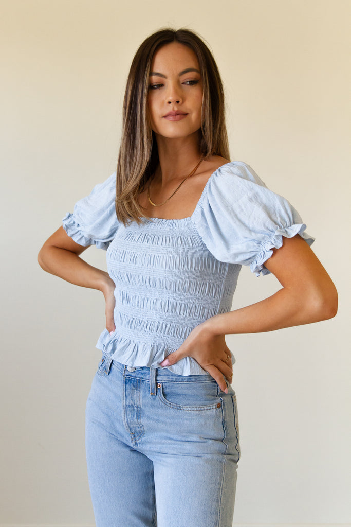 Going Home Smocked Crop Top