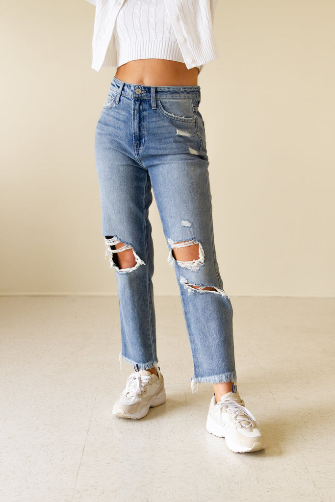 The Hazel Super High Distressed Relaxed Straight Leg Jeans by Nectar Premium Denim