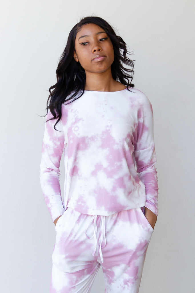 white and pink tie dye long sleeve top