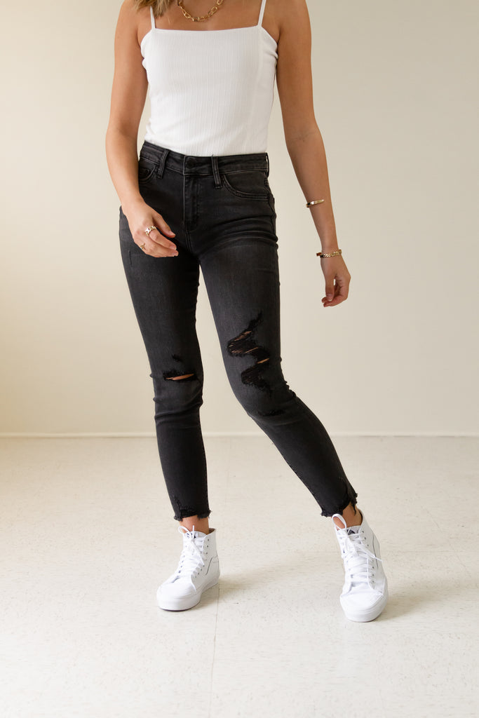 The Rockie Mid Rise Crop Skinny Jeans by Nectar Premium Denim