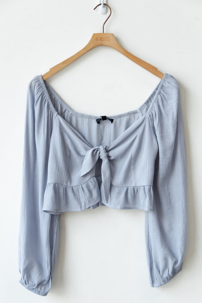 blue self front tie crop top