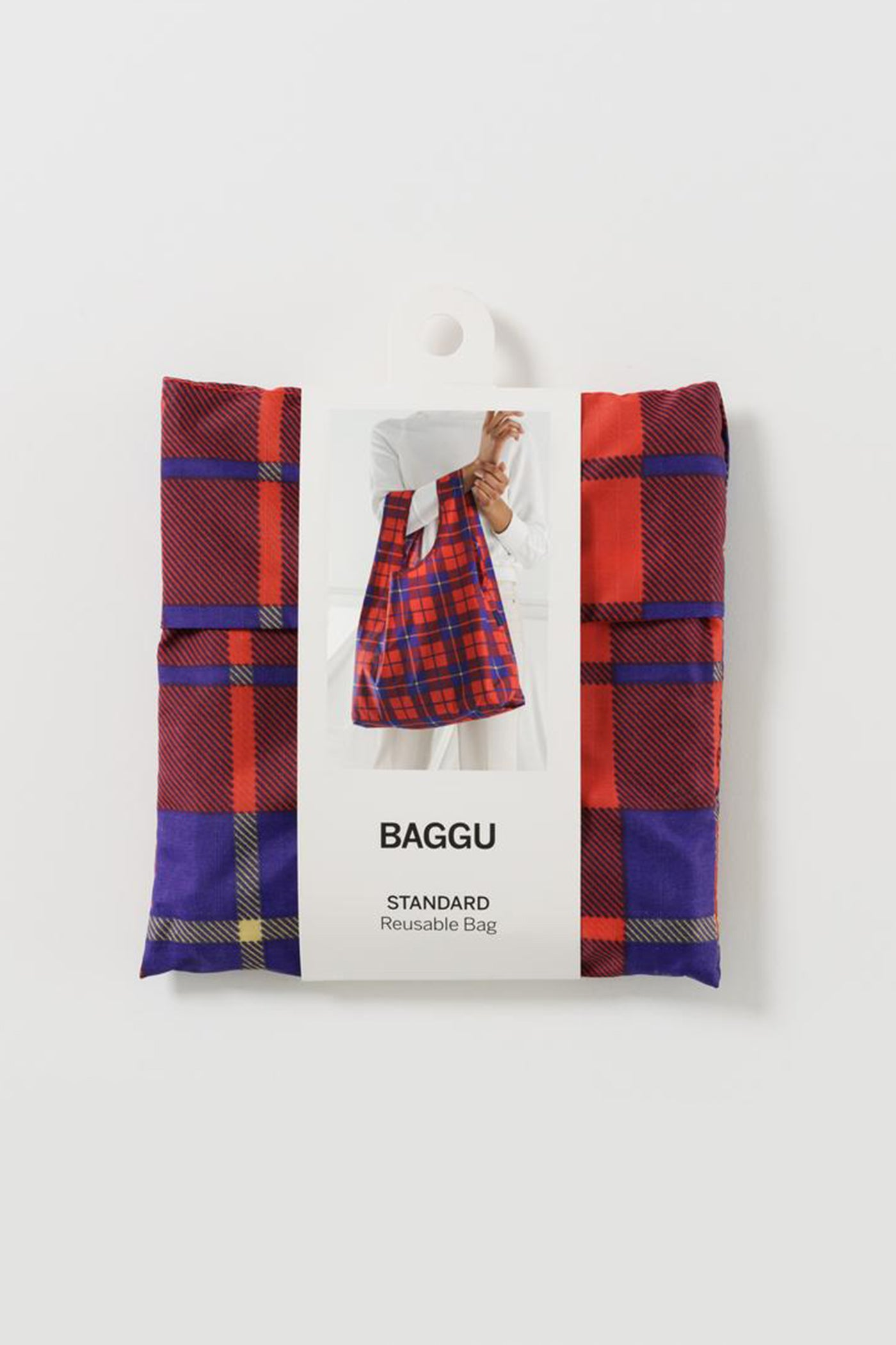 Red Tartan Reusable Bag by Baggu