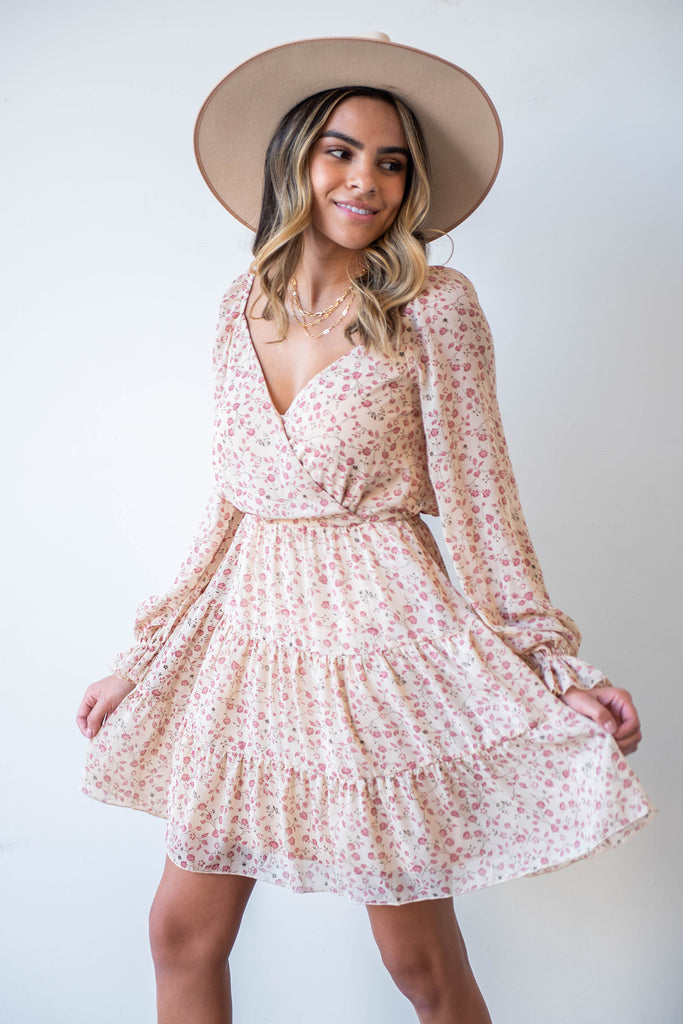 natural and pink floral dress