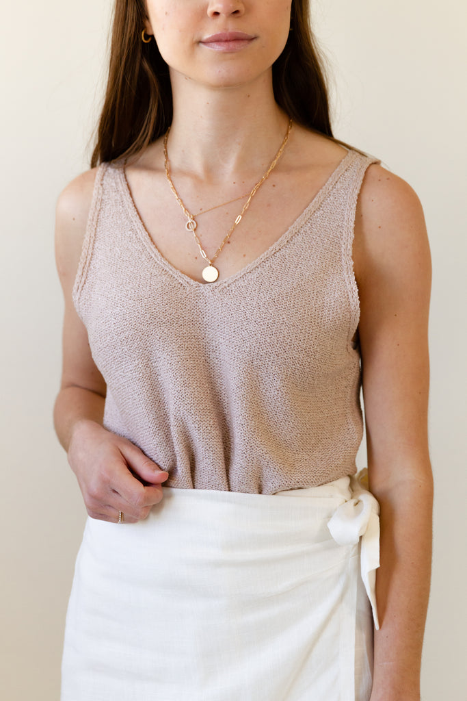natural sleeveless knit tank top