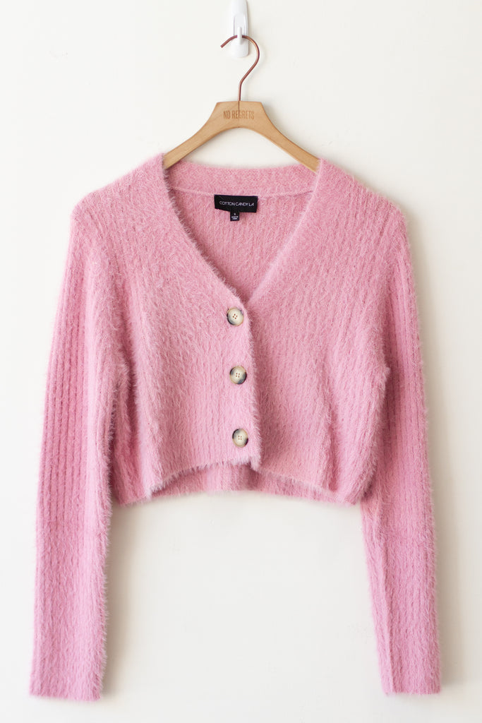 pink fuzzy cropped sweater