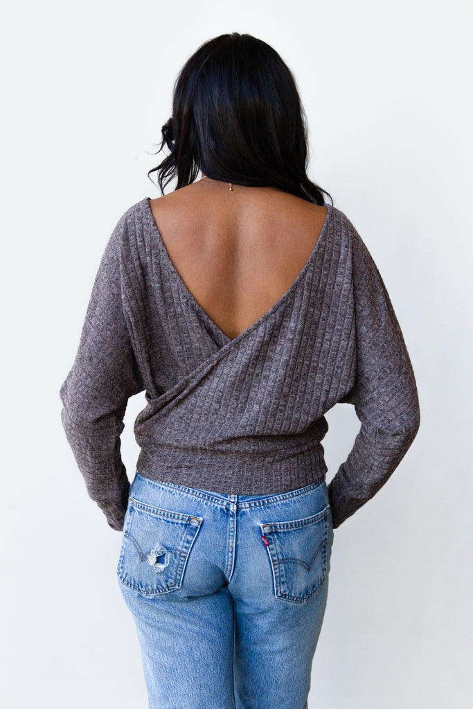 mocha long sleeve ribbed open back sweater
