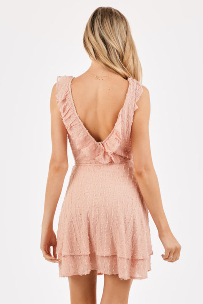 Keep It Coming Ruffled Wrap Dress