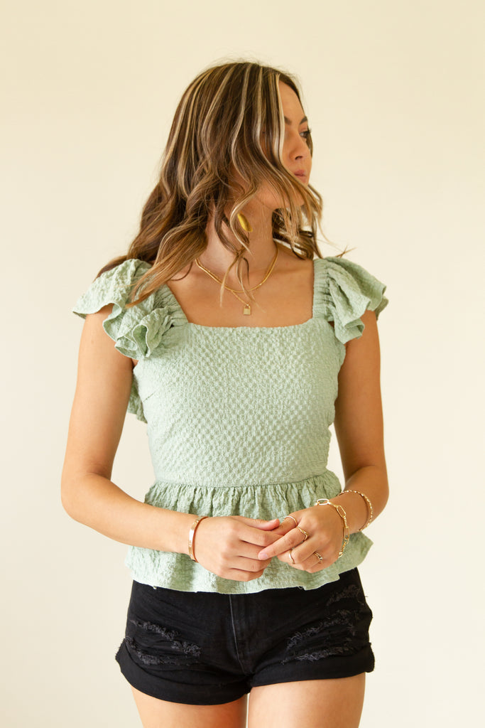 sage crinkled ruffle top with back tie