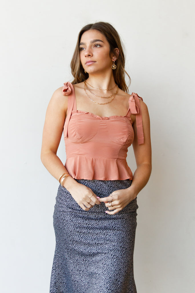 rose self tie crop top
