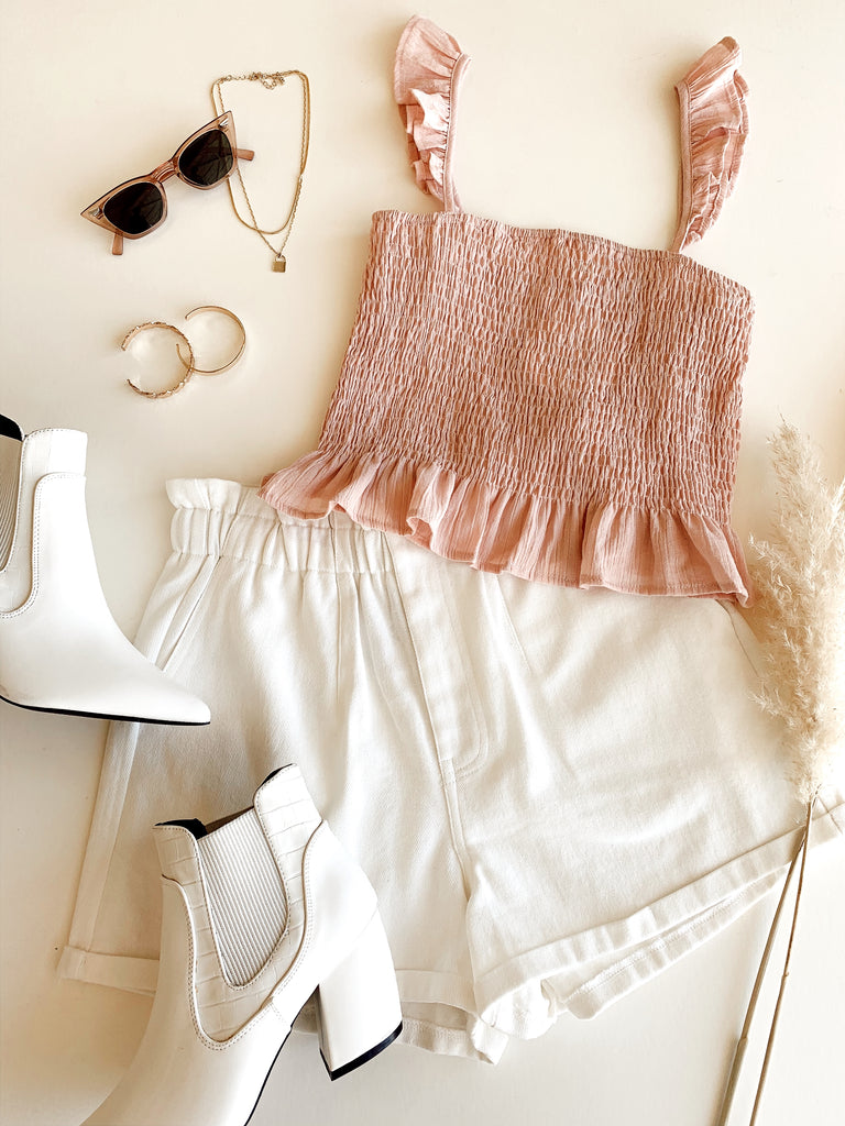 white linen paper bag waist shorts
