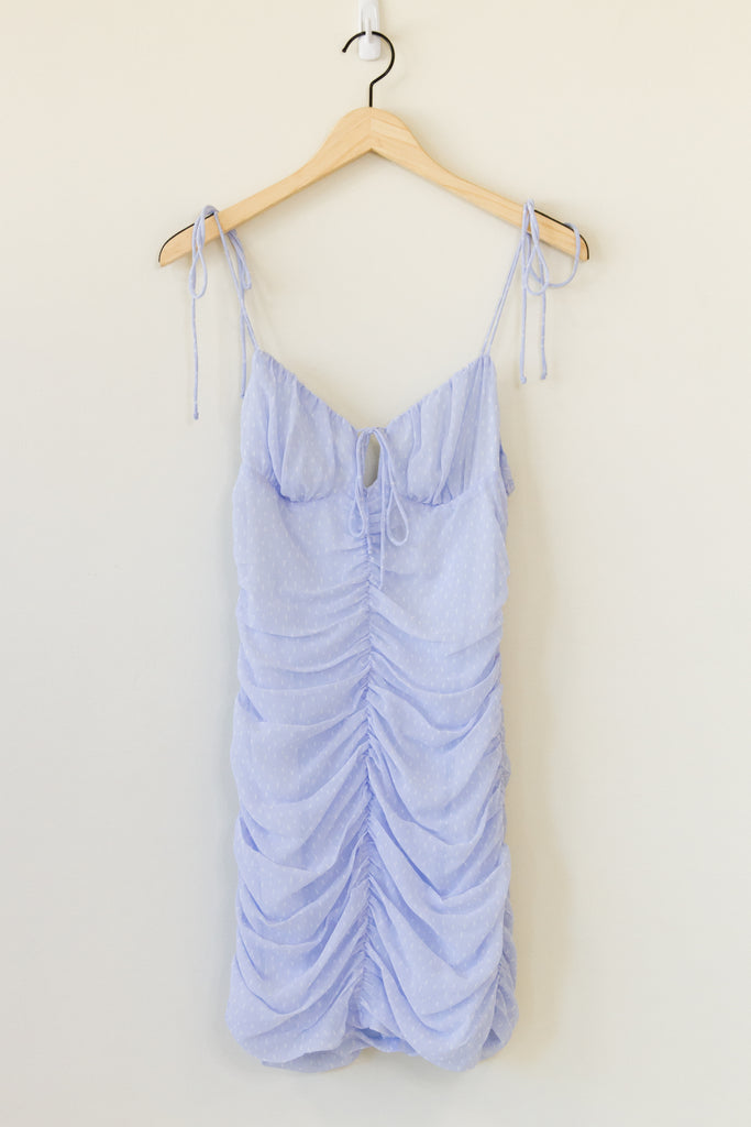 blue ruched cami dress