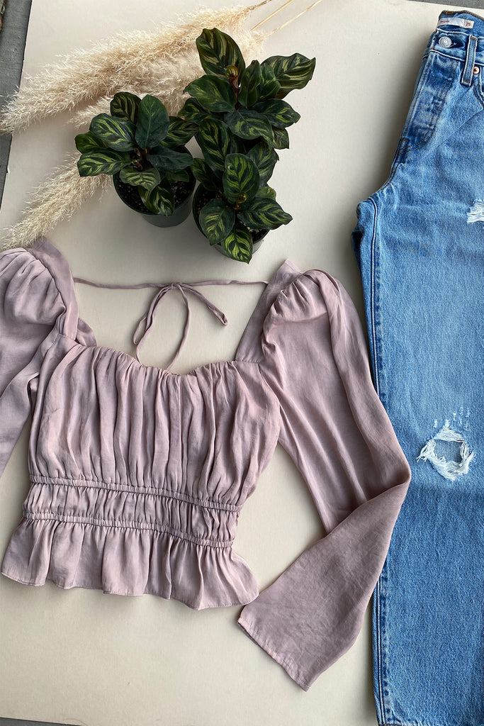 pink long sleeve cinched top