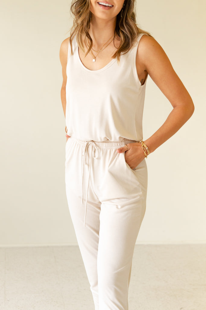 natural sleeveless jumpsuit with drawstring waist