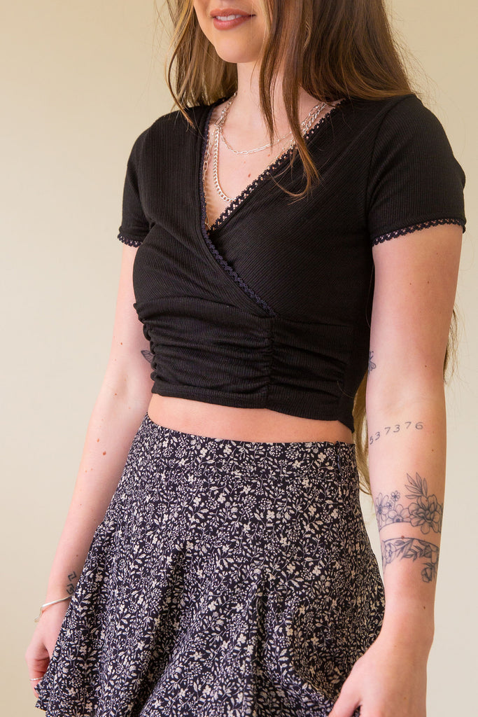 black ruched front crop top