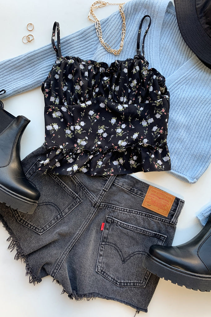 black floral cami top