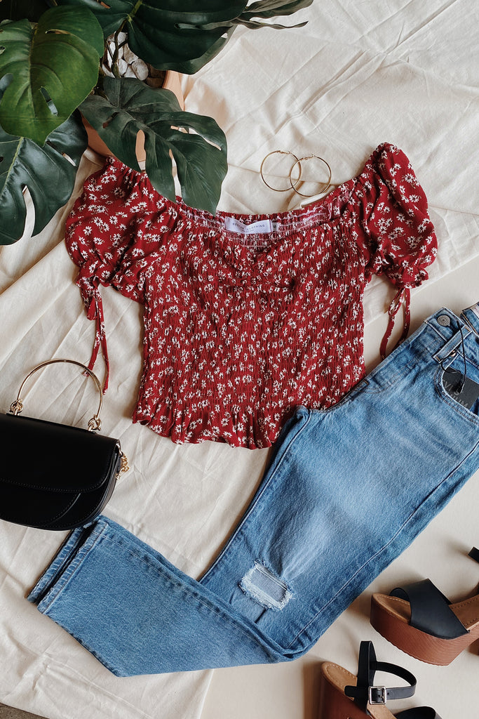 REd Floral Crop Top