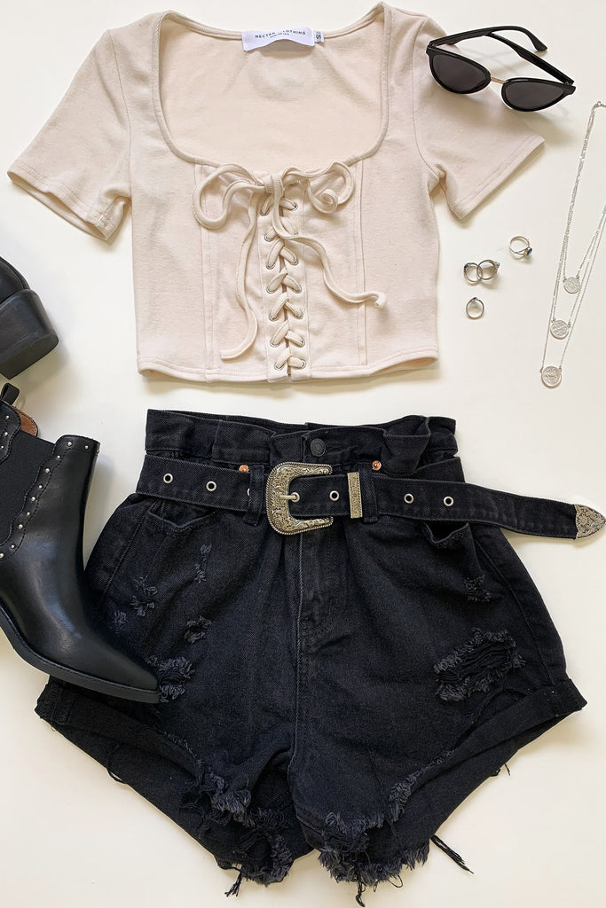 black belted distressed denim shorts
