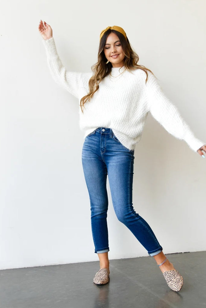white knit sweater