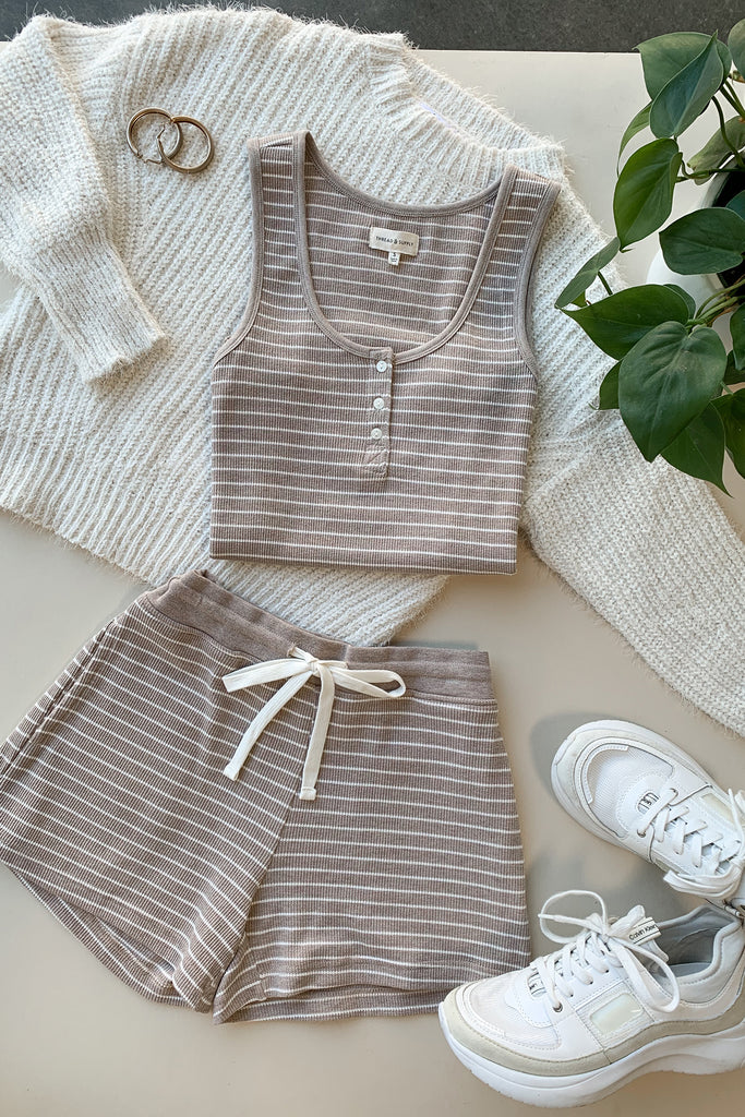 taupe and white striped tank