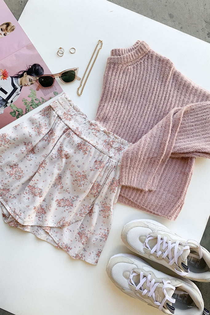 pink cream floral shorts