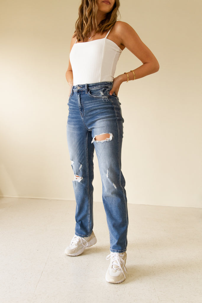 The Hazel High Rise Distressed Straight Leg Jeans by Nectar Premium Denim