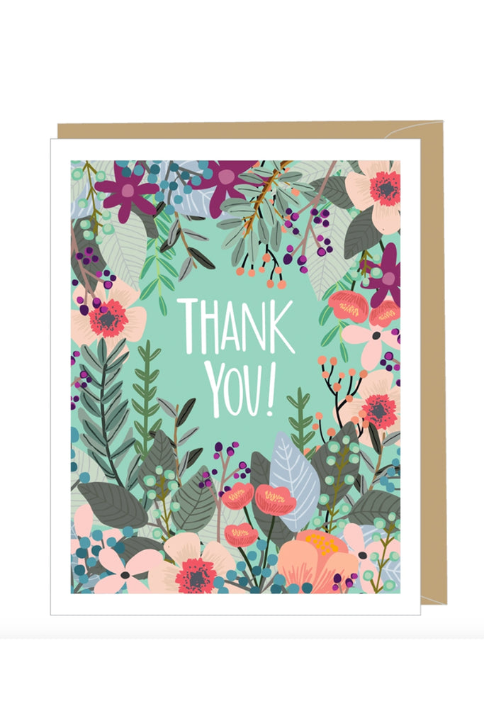 Floral Thank You Greeting Card by For Good