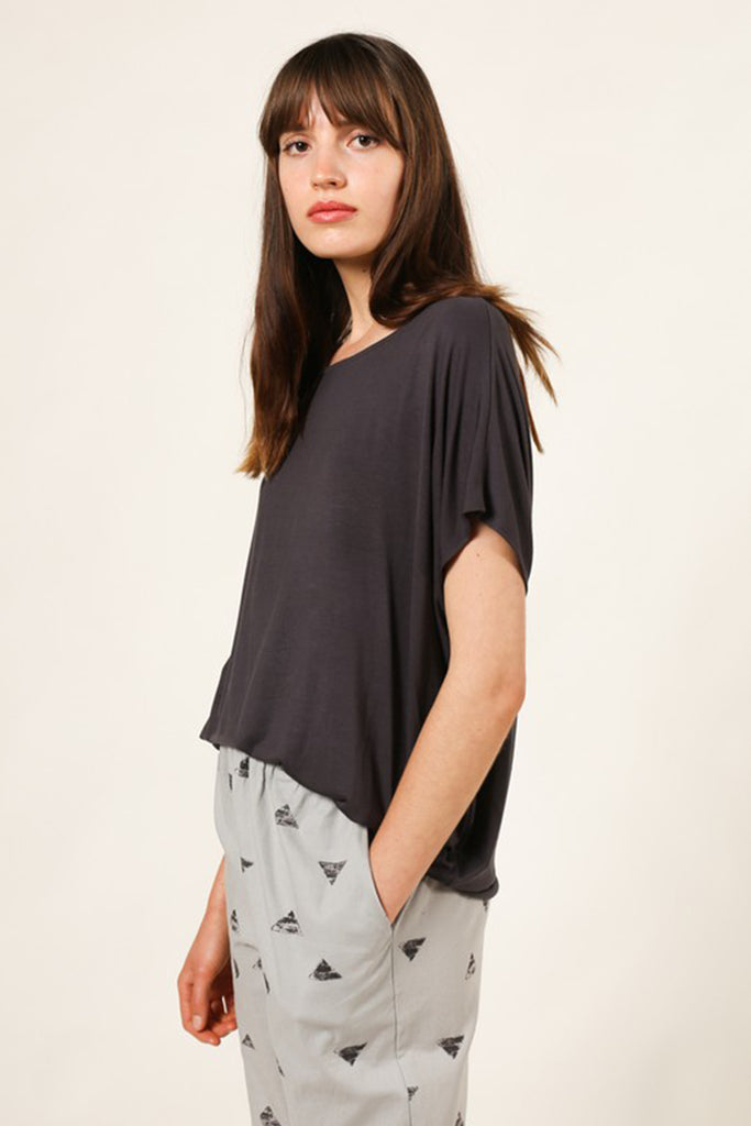 charcoal flowy top