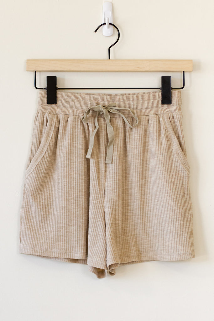 natural drawstring shorts