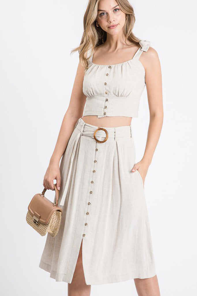 Natural Button Midi Skirt