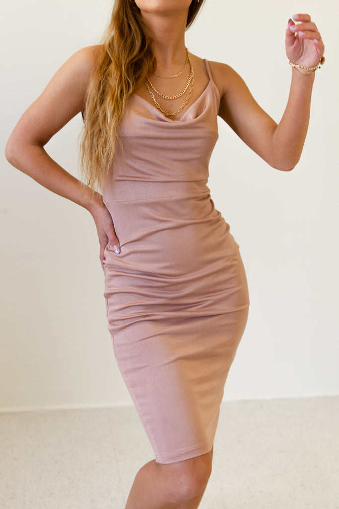 mauve cowl neck ribbed cami above the knee dress