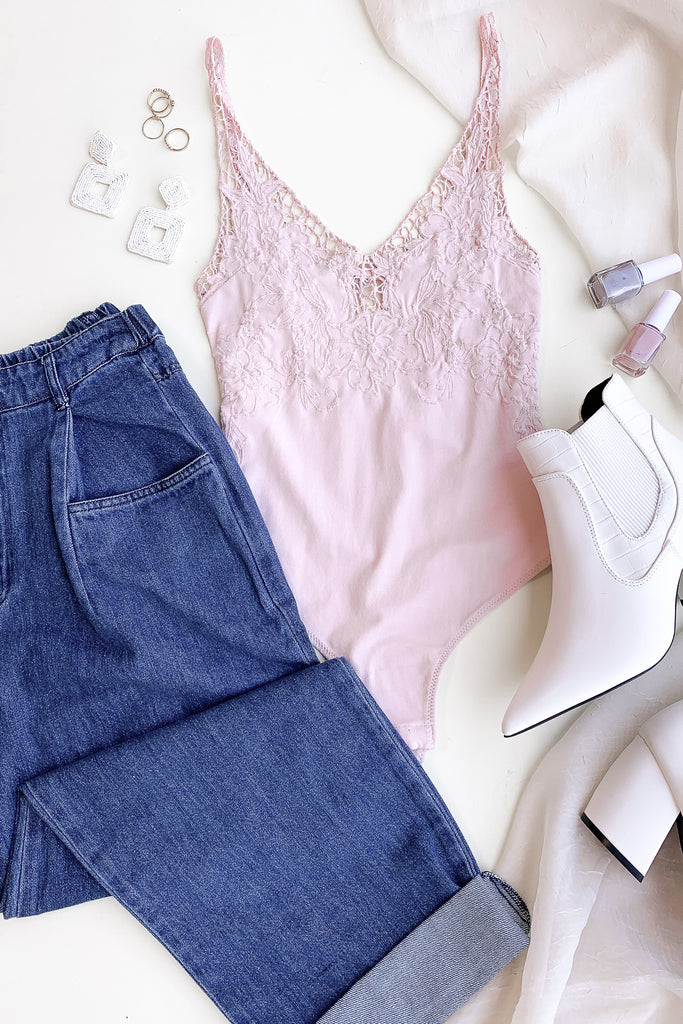 blush lace cami bodysuit