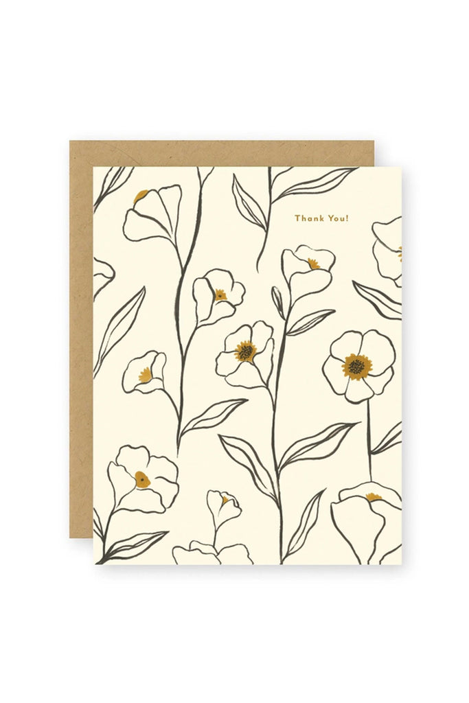 flowers thank you greeting card
