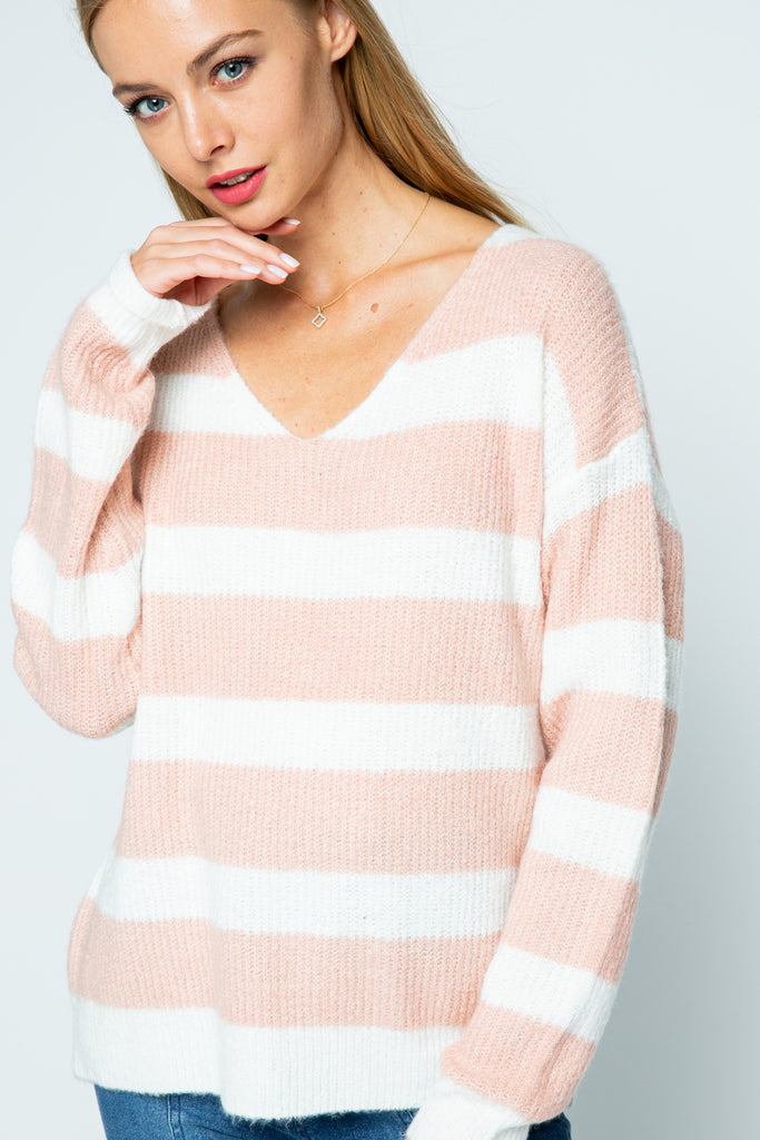 Blush/White Striped Sweater