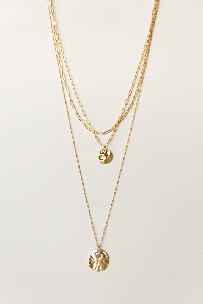 Coin Triple Layer Chain Necklace