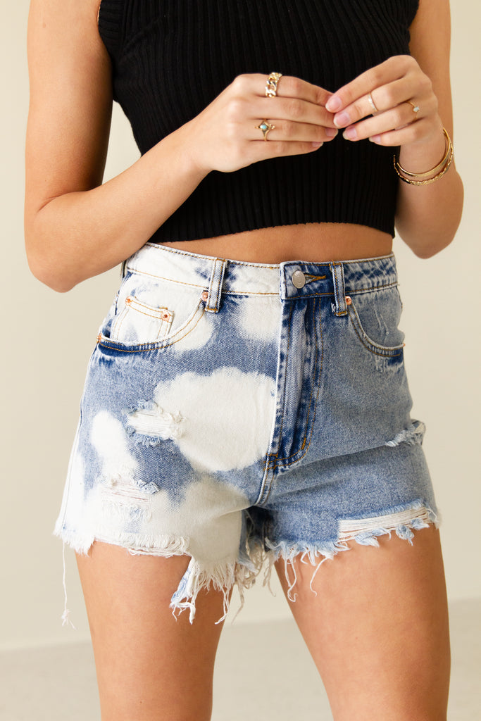 bleached distressed denim shorts