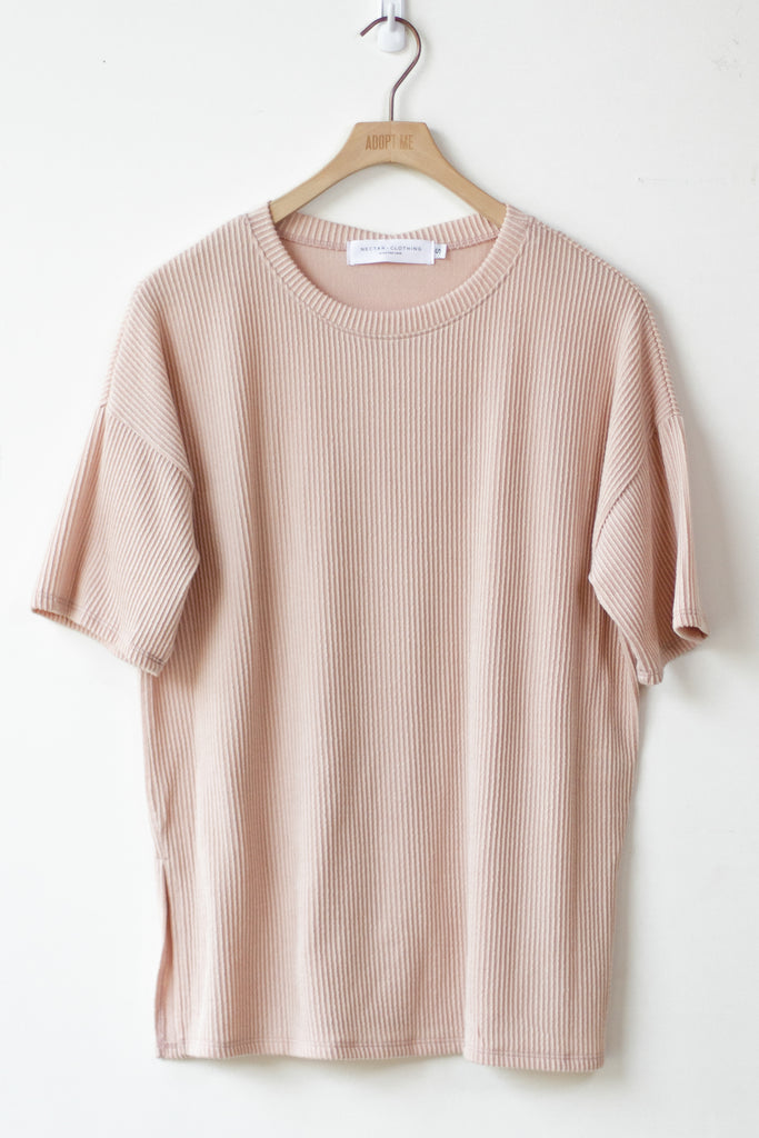 pink ribbed t-shirt