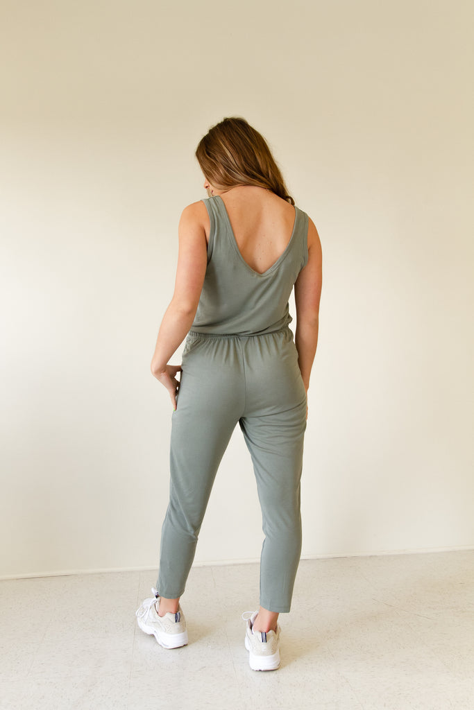 olive sleeveless jumpsuit with drawstring waist