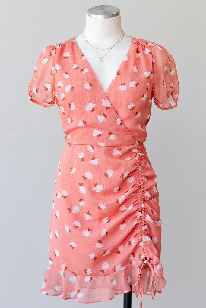 Pink Floral Short Sleeve Dress