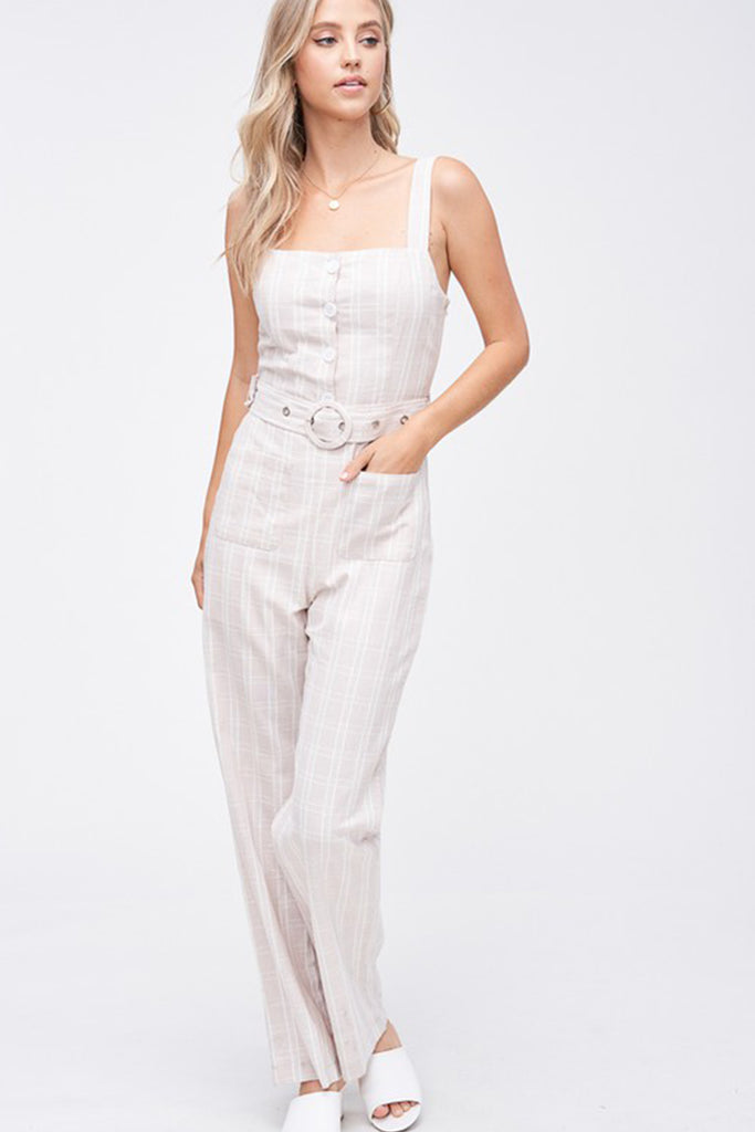 Natural Striped Jumpsuit