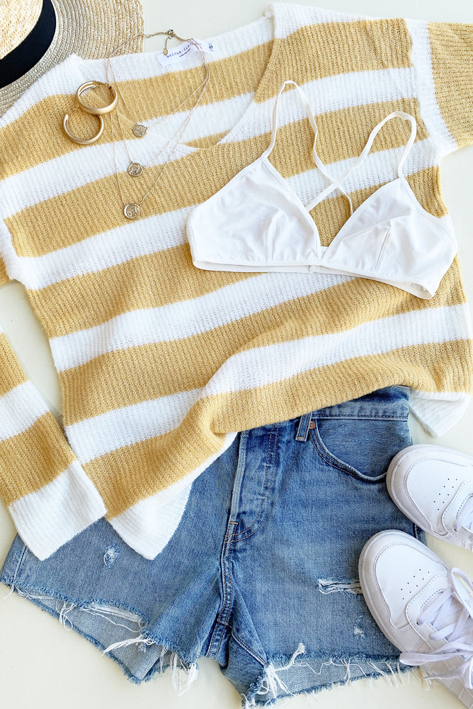 Yellow/White Striped Sweater