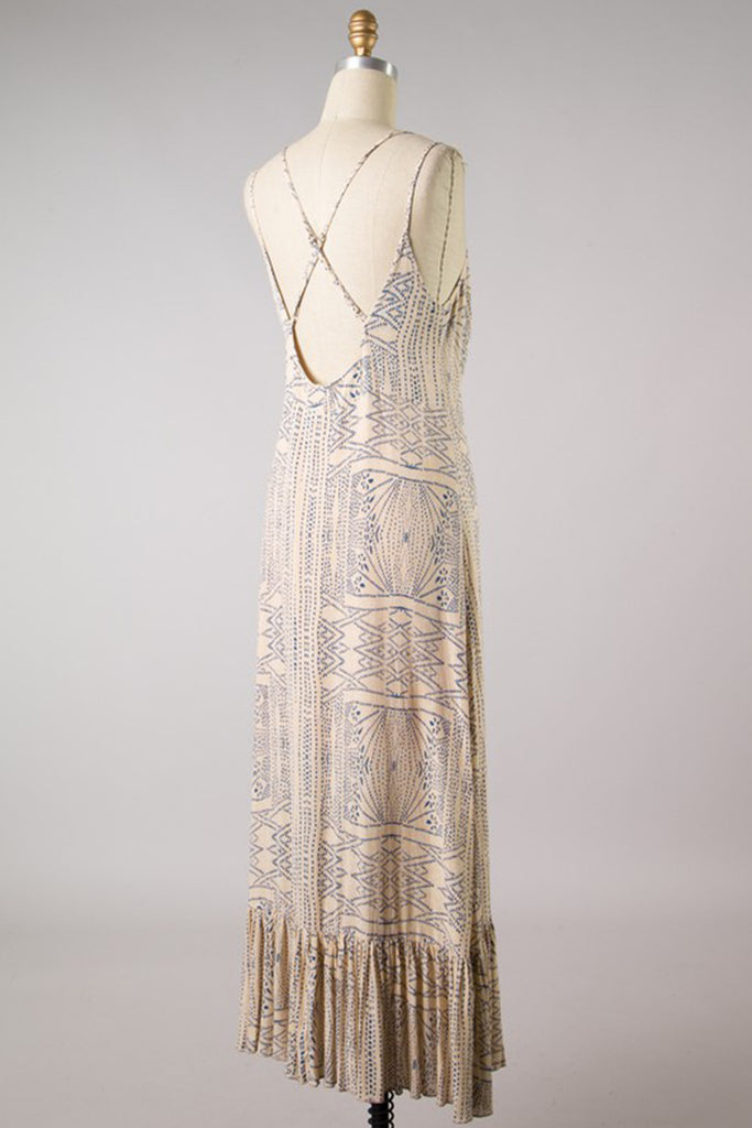Blue/Beige Maxi Dress